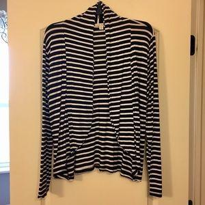 Sweaters - Drape Open Cardigan Black & White Stripes